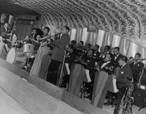 1941 - Ella Fitzgerald Orchestra on the Savoy bandstand. Looking towards the 141st Street rear corner. Source: Frank Driggs Collection, Magnum Photos (reference PAR60315).